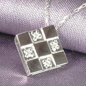 四角 スクエアー ダイヤモンド ペンダント ネックレス K10WG/PG/YG 「4P0010K10」【送料無料】 *