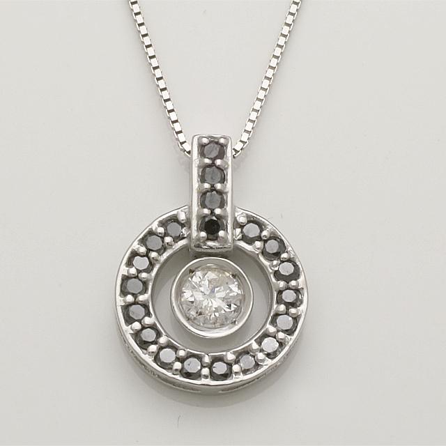 ブラックダイヤモンド ダイヤモンド ペンダント ネックレス K18WG 「4P0260BL」【送料無料】 *