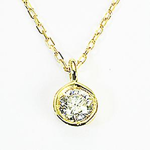 1粒 0.1ct 天然ダイヤモンド ペンダント ネックレス K18 18金「4P0406」 【送料無料】 *