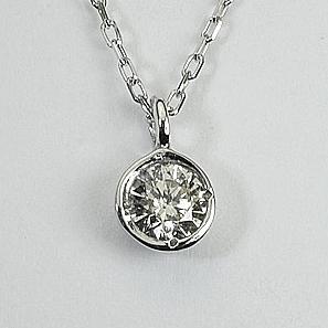 1粒 0.1ct 天然ダイヤモンド ペンダント ネックレス K18WG ホワイト「4P0406w」【送料無料】 *