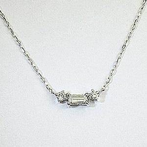 バゲットダイヤ 四角 ペンダント ネックレス K18WG 18金ホワイトゴールド「4P0416w」【送料無料】 *