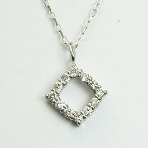 ひし型 ダイヤモンド ペンダント ネックレス K18WG ホワイトゴールド「4P0426W」【送料無料】 *