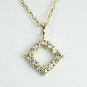 ひし型 四角 ダイヤモンド ペンダント ネックレス K18YG ゴールド「4P0426」【送料無料】 *