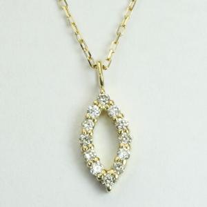 マーキス型 ダイヤモンド ペンダントネックレス K18YG ゴールド「4P0428」 【送料無料】 *