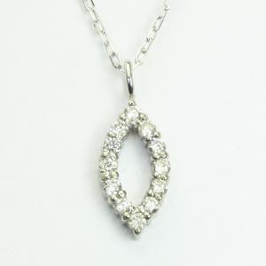 マーキス型 ダイヤモンド ペンダントネックレス K18WGホワイトゴールド「4P0428W」 【送料無料】 *