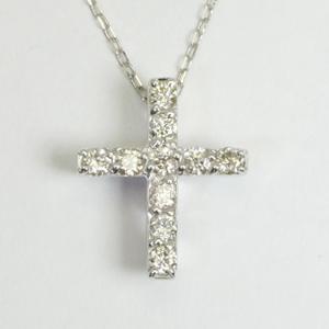 横に星のくりぬき クロス 十字架 ダイヤモンド ペンダントネックレス K10WG/YG/PG「4P0430」【送料無料】 *