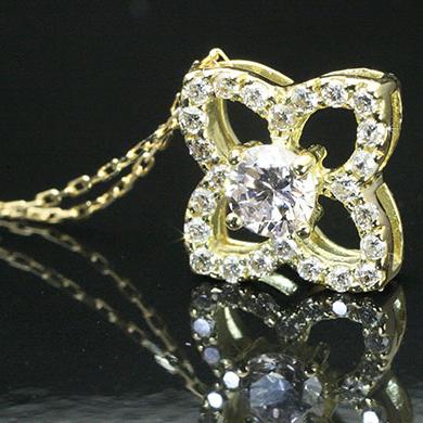 K18 フラワー 花 ダイヤモンド ペンダントネックレス K18 18金 25石 0.30ct  「4P0434」 【送料無料】 *