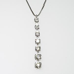 K18WG I型 しなやかに左右に揺れる ダイヤモンド ペンダント ネックレス 18金ホワイトゴールド 7石 0.30ct 「4P0446W」【送料無料】 *