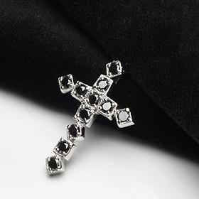 ブラックダイヤ 1.00ct K18WG クロス 十字架 ペンダント ネックレス チェーン付「96080bl」【送料無料】 *