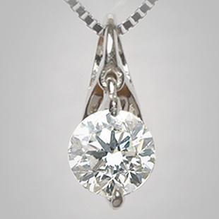 「あす楽対応」 0.3ct 1粒 ダイヤモンド ペンダン トネックレス K18WG 「4P0038」【送料無料】 *