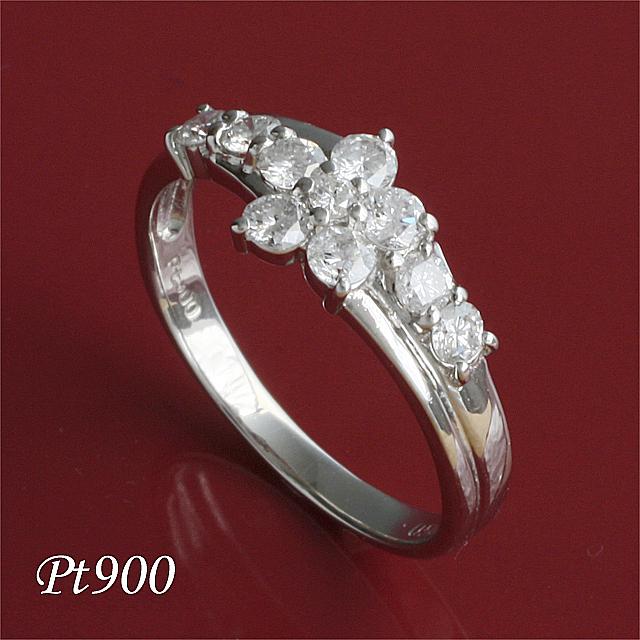 【送料無料】 Pt900 10石 0.5ct テンダイヤモンドリング  「4R0044P」【送料無料】 *