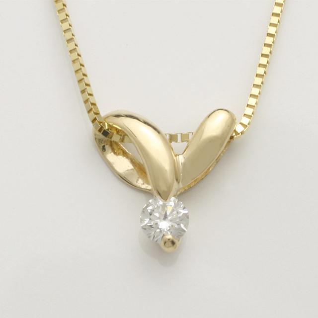 「あす楽対応」 1粒 ダイヤモンド ペンダント ネックレス K18 18金 ゴールド「4P0110」【送料無料】 *