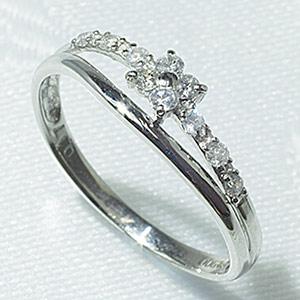 ダイヤモンドリングK18WG「4R0082W」【送料無料】ダイヤモンドで出来た幸せの四つ葉のクローバーが中央に輝きまわりのダイヤ達も華を添えるように合計10石のダイヤモンドがキラキラと輝きます。 *