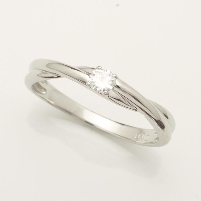 【送料無料】1粒ダイヤモンドリングK18WG「4R0140W」 *