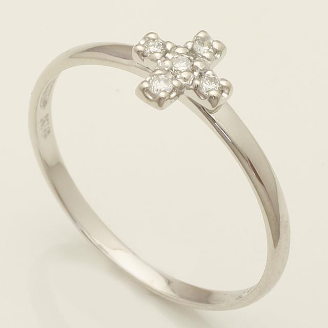 優しい印象のクロス ダイヤモンドリング 2~32号 K18WG「4R0204W」【送料無料】 *