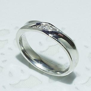 結婚指輪 マリッジリング ペアリング 女性用 K18WG ダイヤモンド 0.03ct 「5210-L WG-P」【送料無料】