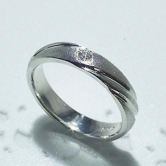 結婚指輪 マリッジリング ペアリング 女性用 K18WG ダイヤモンド 0.03ct「5214-L WG-P」【送料無料】