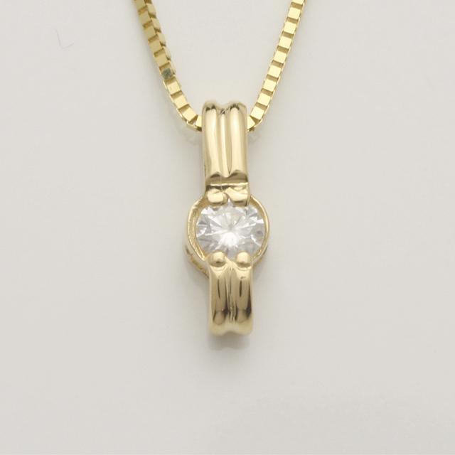「あす楽対応」 1粒 ダイヤモンド ペンダント ネックレス K18 18金 ゴールド「4P0114」【送料無料】 *