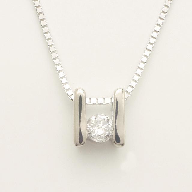 「あす楽対応」 1粒 ダイヤモンド ペンダント ネックレス K18WG 18金ホワイトゴールド「4P0118W」【送料無料】 *