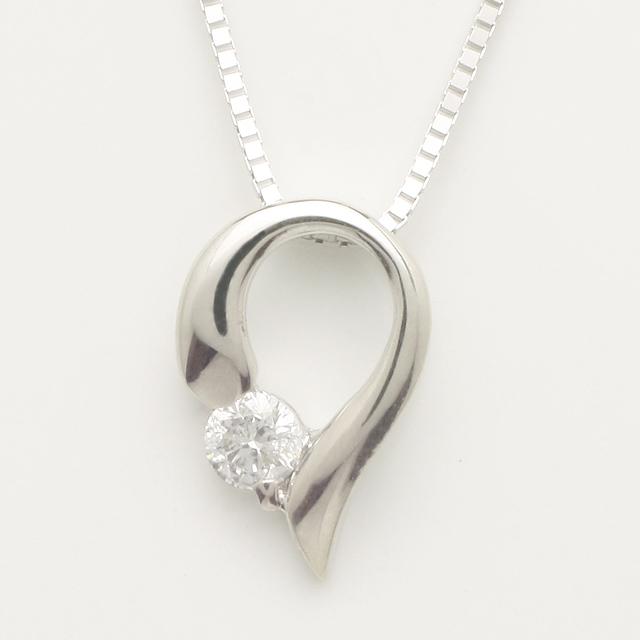 「あす楽対応」 1粒 ダイヤ ペンダント ネックレス K18WG 18金ホワイトゴールド「4P0120W」【送料無料】 *