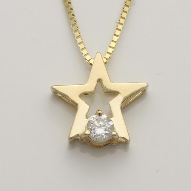 「あす楽対応」 星型 スター 1粒 ダイヤモンド ペンダント ネックレス K18 18金 ゴールド「4P0122」【送料無料】 *