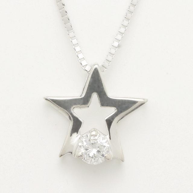 「あす楽対応」 星型 スター 1粒 ダイヤモンド ペンダント ネックレス K18WG 18金ホワイトゴールド「4P0122W」【送料無料】 *