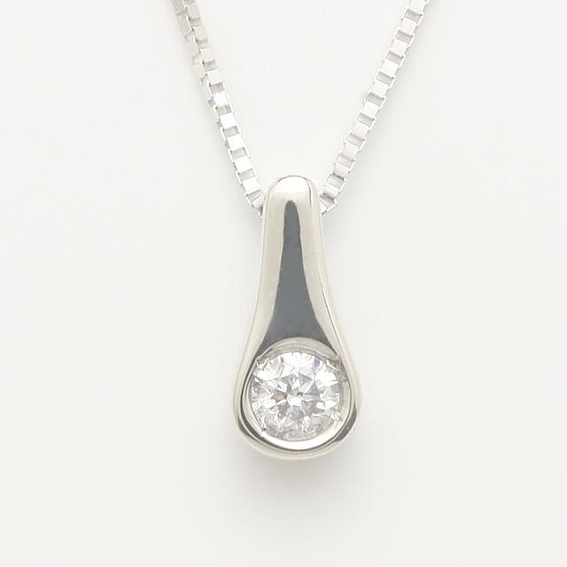 「あす楽対応」 1粒 ダイヤ ペンダント ネックレス K18WG 18金ホワイトゴールド「4P0124W」【送料無料】 *