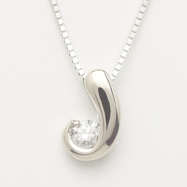 「あす楽対応」 1粒 ダイヤモンド ペンダン ネックレス K18WG 18金ホワイトゴールド「4P0126W」【送料無料】 *