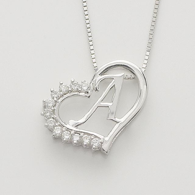 「あす楽対応」 A イニシャル ペンダント ダイヤモンド ネックレス K18WG 18金ホワイトゴールド 「4P108AWG」【送料無料】 *