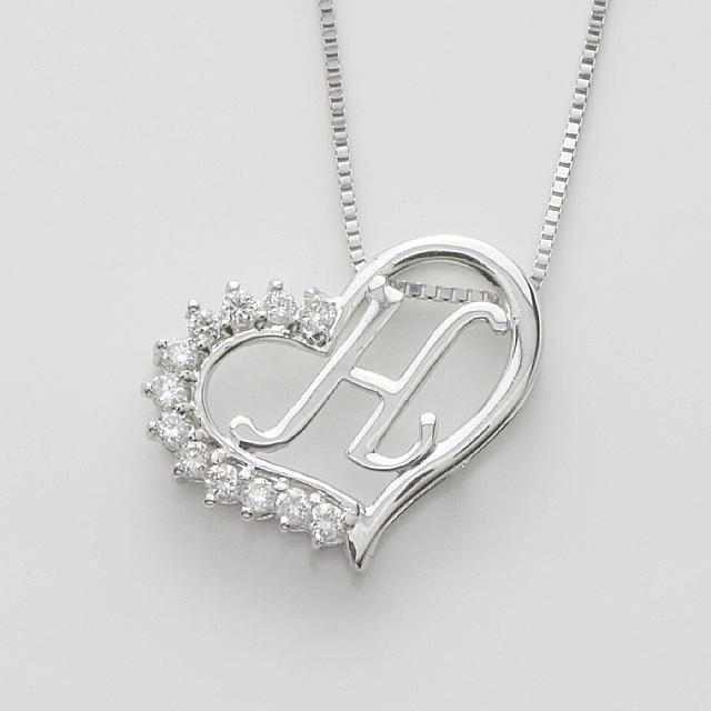 「あす楽対応」 H イニシャル ペンダント ダイヤモンド ネックレス K18WG  18金ホワイトゴールド「4P108HWG」【送料無料】 *