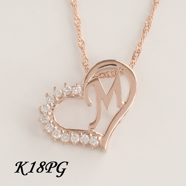 M イニシャル ペンダント ダイヤモンド ネックレス  K18PG 18金ピンクゴールド  「4P108MPG」【送料無料】 *