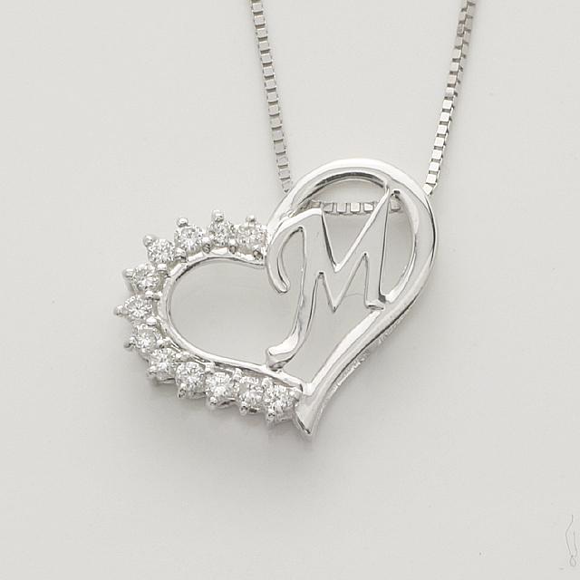 「あす楽対応」 M イニシャル ペンダント ダイヤモンド ネックレス K18WG  18金ホワイトゴールド「4P108MWG」【送料無料】 *