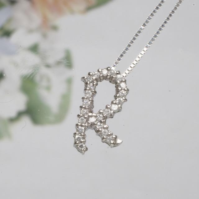 RイニシャルペンダントネックレスホワイトゴールドダイヤモンドペンダントK18WG 「93194R」 *