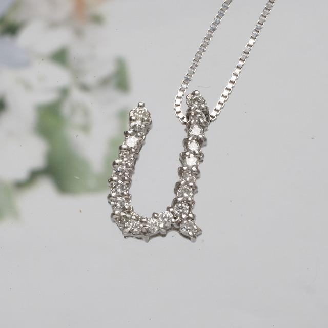 UイニシャルペンダントネックレスホワイトゴールドダイヤモンドペンダントK18WG 「93194U」 *