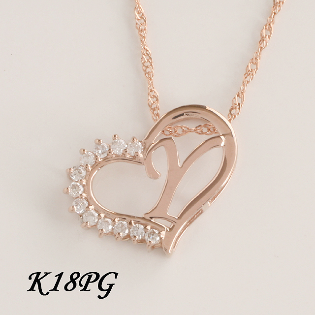 「あす楽対応」 Y イニシャル ペンダント ダイヤモンド ネックレス K18PG ピンクゴールド  「4P108YPG」【送料無料】 *