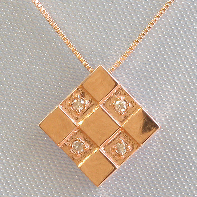 四角 スクエアー ダイヤモンド ペンダント ネックレス K18PG「4P0010pg」【送料無料】 *