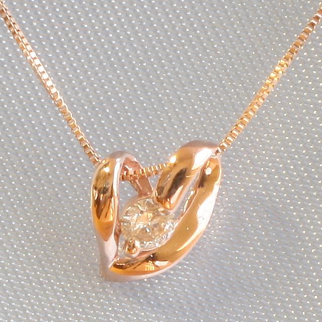 1粒 ダイヤモンド オープンハート ペンダント ネックレス K18PG「4P0014PG」【送料無料】 *