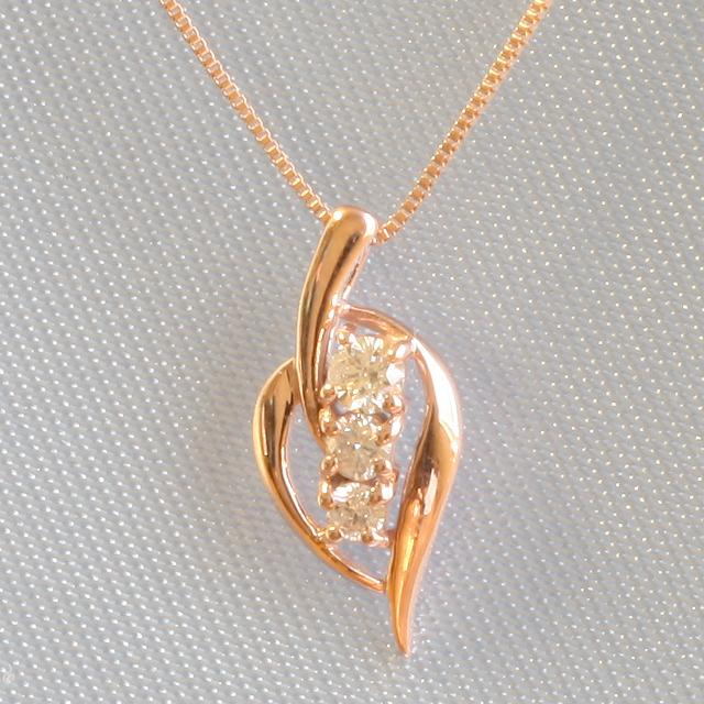 スリーストーン 3石 ダイヤモンド ペンダント ネックレス K18PG 「4P0050PG」【送料無料】 *
