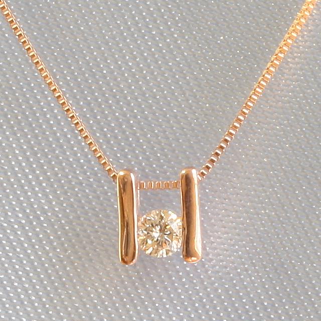 1粒 ダイヤ ペンダント ネックレス K18PG 18金ピンクゴールド 「4P0118pg」【送料無料】 *