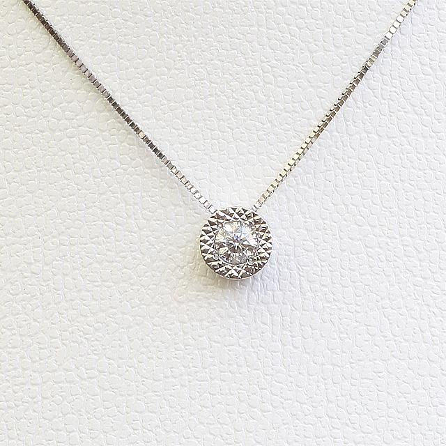 一粒ダイヤ ダイヤモンド ネックレス 18WG【送料無料】「96180」 *