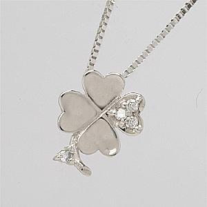 「あす楽対応」 ダイヤモンド 四葉のクローバー ペンダント ネックレス K18WG 18金ホワイトゴールド「4P0016」