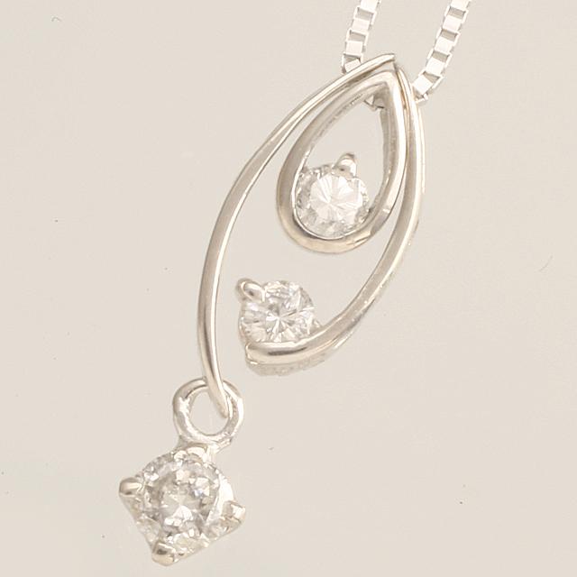 「あす楽対応」3石 揺れる ダイヤモンド ペンダント ネックレス K18WG  18金ホワイトゴールド 「4P0040W」【送料無料】 *