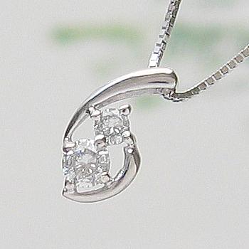 【自分へのご褒美に★】「あす楽対応」柔らかなライン ダイヤモンド ペンダント ネックレス K18WG 18金ホワイトゴールド 「4P0058」 【送料無料】 *