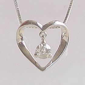 「あす楽対応」1粒 揺れるダイヤモンド オープンハート ペンダント ネックレス K18WG 「4P0066」【送料無料】