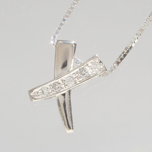 【スタイリッシュ♪】「あす楽対応」クロスデザイン ダイヤモンド ペンダント ネックレス K18WG 18金ホワイトゴールド 「4P0084」【送料無料】 *