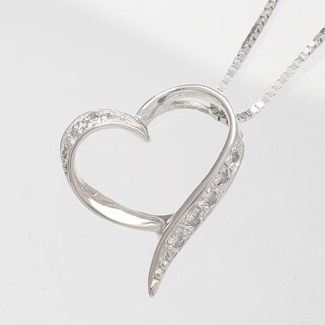 「あす楽対応」オープンハート ダイヤモンド ペンダント ネックレス K18WG 18金ホワイトゴールド 「4P0086」【送料無料】 *