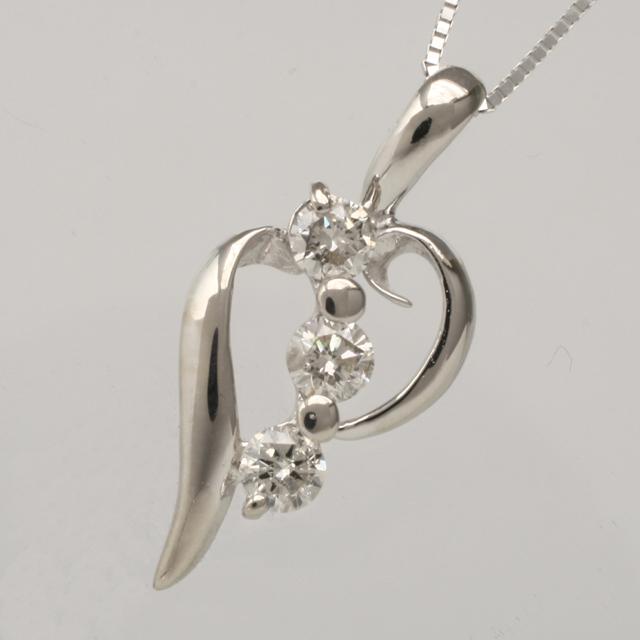 「あす楽対応」オープンハート 3石 3粒 ダイヤモンド ペンダント ネックレス K18WG 18金ホワイトゴールド 「4P0092」【送料無料】 *