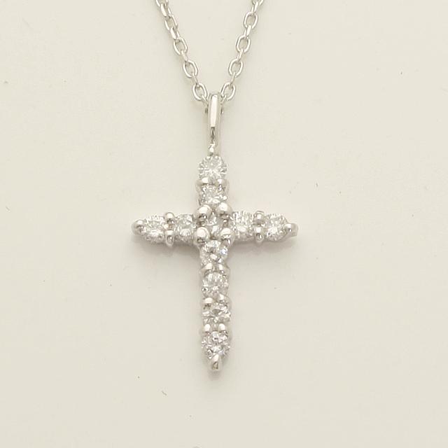 「あす楽対応」クロス 十字架 ダイヤモンド ペンダント ネックレス K18WG 18金ホワイトゴールド「4P0212」【送料無料】 *