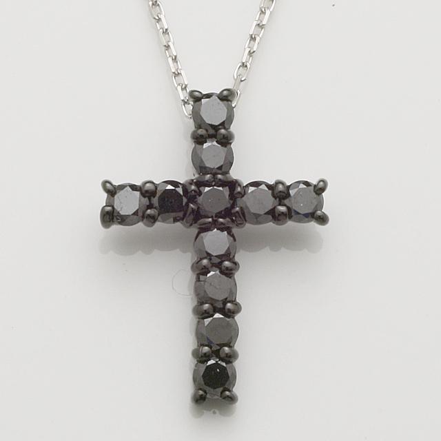 ブラックダイヤ クロス いつでも送料無料 十字架 ペンダント ネックレス K18WG 18金ホワイトゴールドチェーンが選べます 4P0214blnwhorbl ホワイトチェーン レディース ブランド品 送料無料 メンズ ブラックチェーン