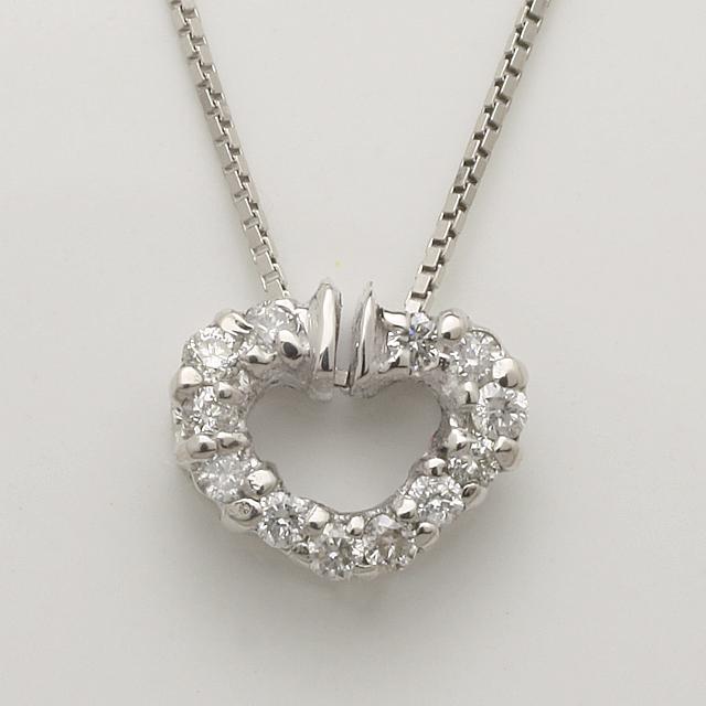 「あす楽対応」ダイヤモンド オープンハート ペンダント ネックレス K18WG 「4P0254」【送料無料】 *